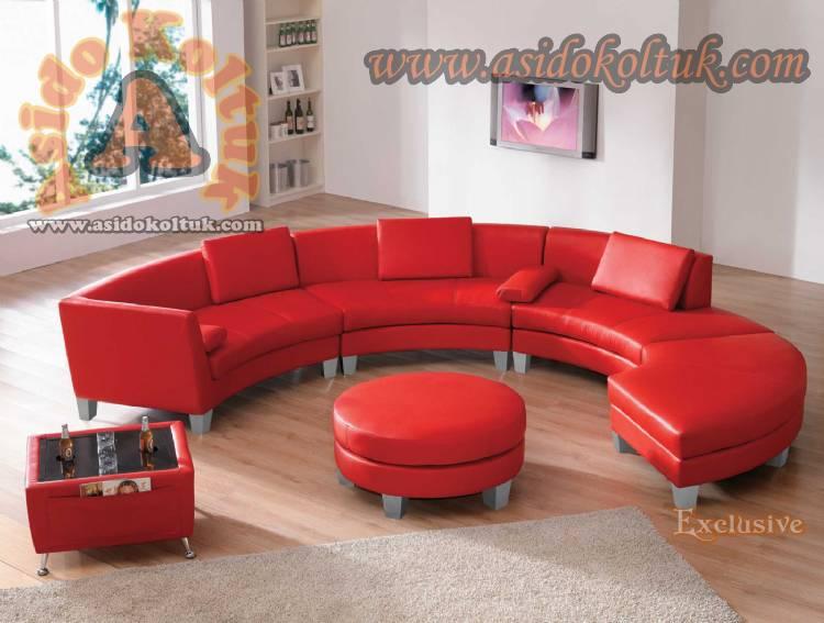 Home Ofis Koltuk Takımı Yuvarlak Deri Kırmızı