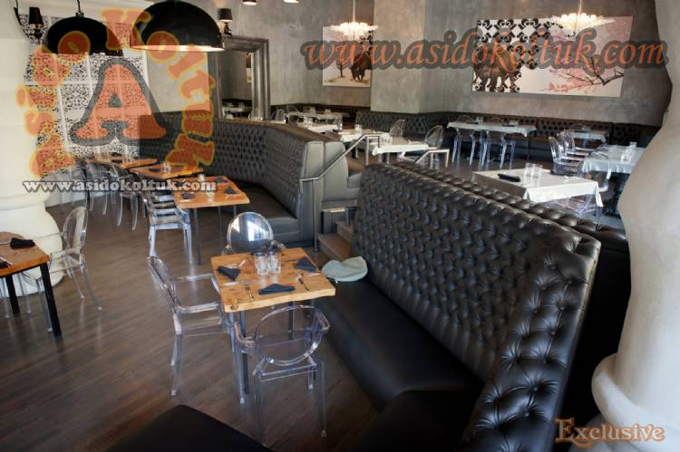 Kapitoneli Deri Sedirler Kafe Restoran Dekorasyon