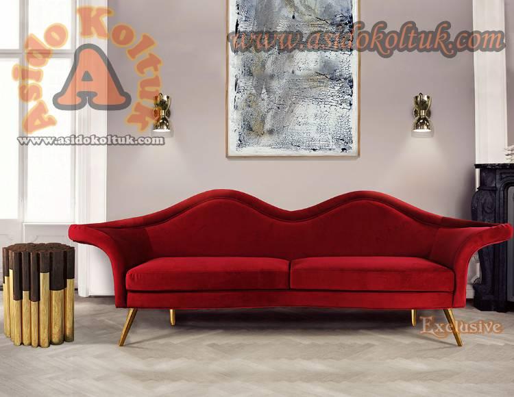 Kırmızı Dekoratif Özel Tasarım Kanepe