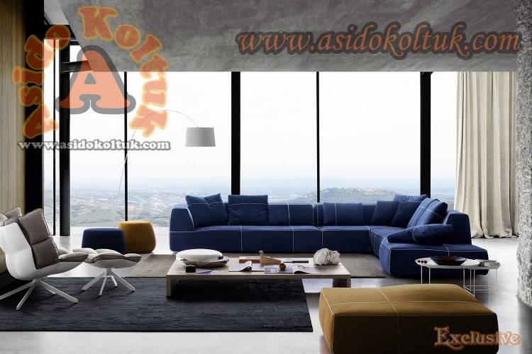 Mavi Dekor Köşe Koltuk Takımı Yeni Tasarım Modeller