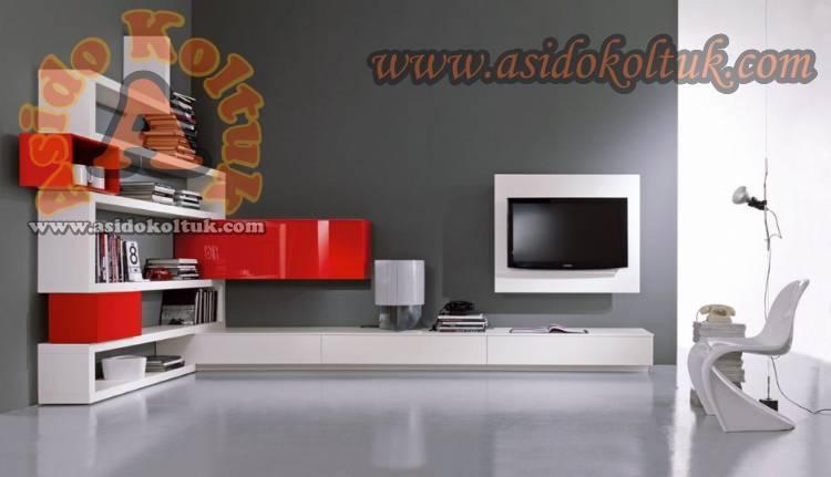 Modern Lake Kırmızı Beyaz Tv Ünitesi