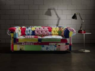 Dekoratif Chester Koltuk Kanepe Renkli Desenli Baskılı Kumaş