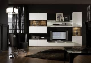 Modern Tv Ünitesi Beyaz Lake Raflı Dolaplı