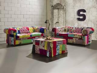 Renkli Baskılı Chester Koltuk Takımı Özel Dekoratif Tasarım