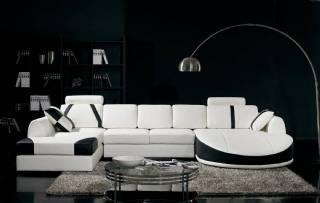 Siyah Beyaz U Köşe Koltuk Takımı Modern Tasarım