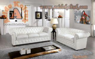 Klasik beyaz chester koltuk takımı