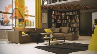 Kahverengi Modern l köşe koltuk takımı