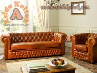 Hakiki Deri klasik chester koltuk takımı