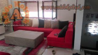 Kırmızı modern köşe koltuk takımı