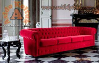 Kırmızı Kadife Klasik Chester Koltuk Üç Kişilik