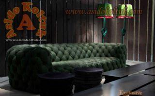 Yeşil hakiki deri italyan chester koltuk