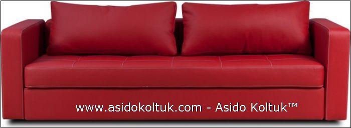 Kırmızı Deri Üçlü Kanepe Modeli, Ev, Ofis