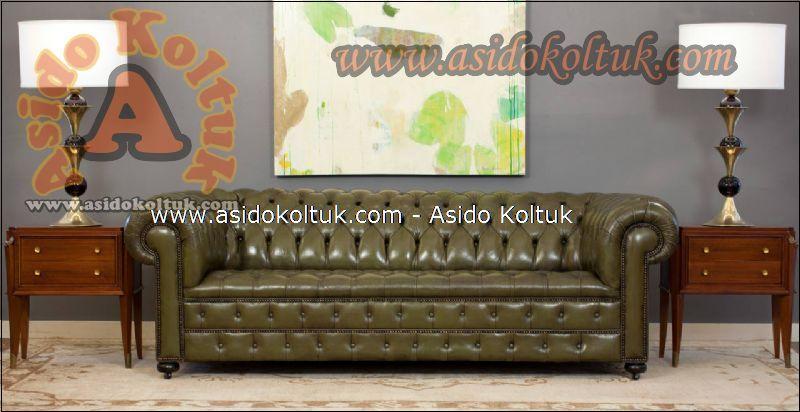 Klasik chester koltuk hakiki deri eskitme yeşil