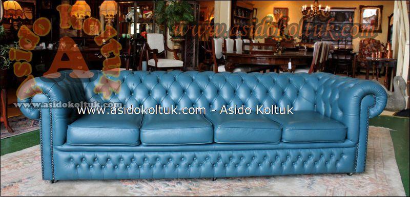 Klasik Chester Koltuk Modeli Harika Turkuaz Mavisi